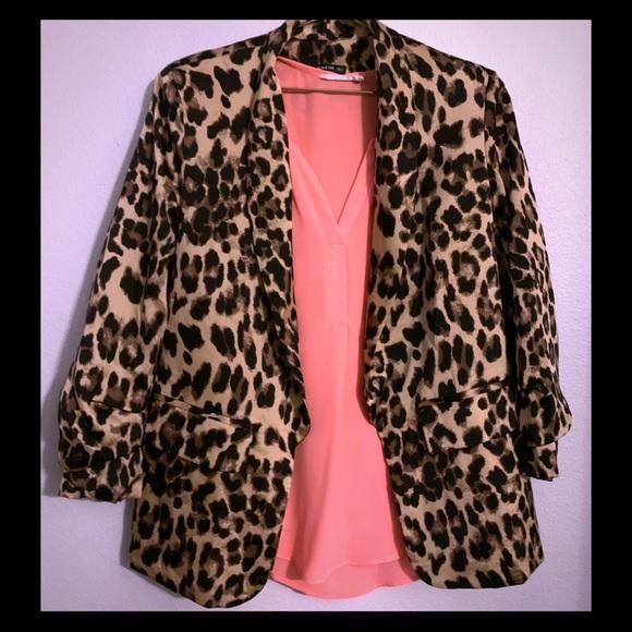 SHEIN Jackets & Blazers - Women's | Leopard Print Open Front Casual Blazer
